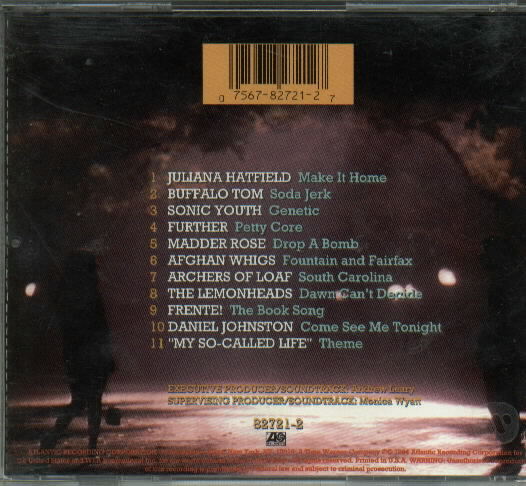 Track list to the My So-Called Life soundtrack (Atlantic, 1994); image courtesy of mscl.com